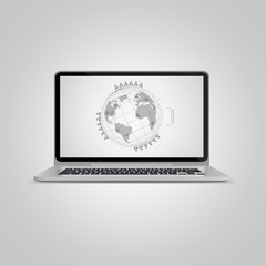 Laptop and Globe infographics concept. Vector