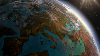 Planet earth Europe zone with night time and sunrise