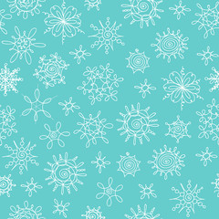 Vector hand drawn Christmas Snowflakes pattern.