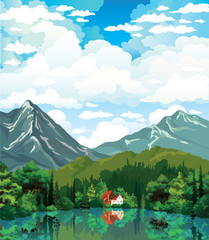 Summer nature landscape with house, forest and lake.