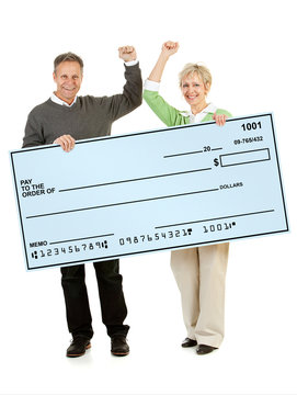Couple: Holding Up a Blank Check
