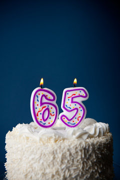 Cake: Birthday Cake With Candles For 65th Birthday