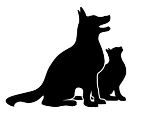 Dog and Cat, sitting looking up, silhouette vector illustration