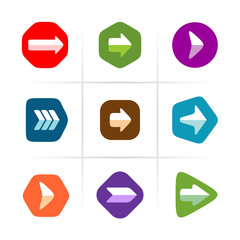 Arrow icons set. Flat color with rounded corner signs.