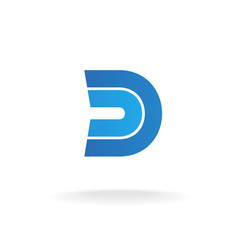 D letter logo template. Blue flat style ribbons concept.
