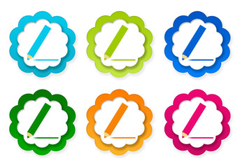 Set of colorful stickers icons with pencil symbol