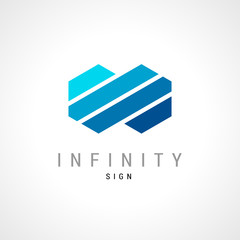 Infinity flat concept double hex logo template