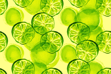 Watercolour lime seamless background pattern