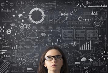 Businesswoman idea concept on blackboard