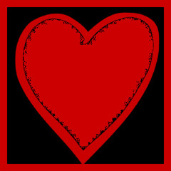 Bright red graphic heart illustration on black background a symbol of love series