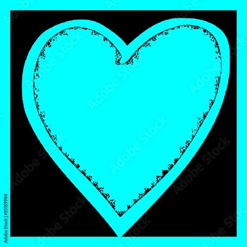 Bright Aqua Turquoise Graphic Heart Illustration On Black Background