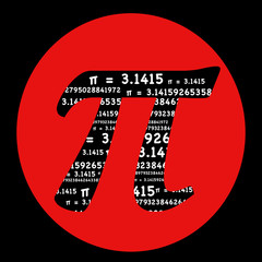 Pi symbol math graphic typography in a red circle on a black background mathematics symbol.