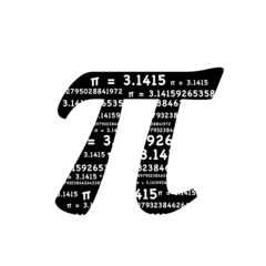 Pi symbol math graphic typography in black and white. 3.1415 is a repeated pattern inside the typographic mathematics symbol.