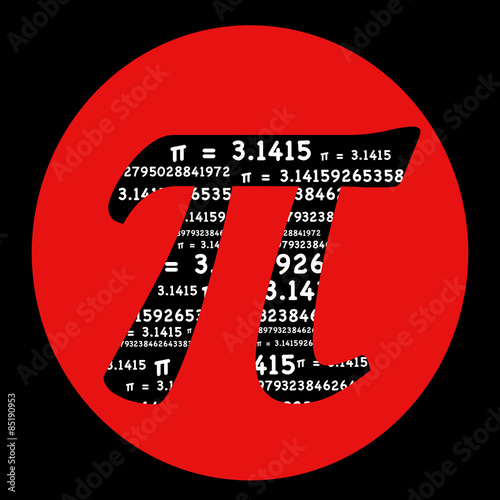Pi Symbol Math Graphic Typography In A Red Circle On A Black