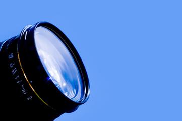 Camera lens blue sky