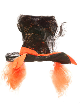 MAD HATTER TOP HAT WITH ATTACHED ORANGE WIG