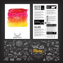 Food menu, restaurant template design. Flyer cafe. Brochure vintage.