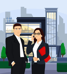 Business people. Vector flat illustration