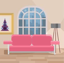 Living room vector flat illustration