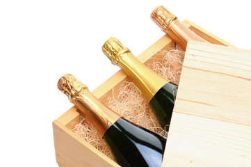 Champagne Bottles in wooden crate