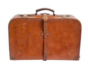 Old suitcase on white background.