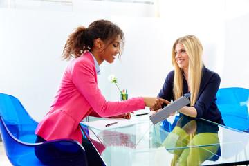 businesswomen interview meeting multi ethnic