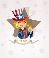 Fourth of July poster with pretty blond girl