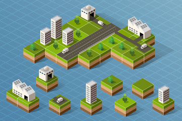 Set of isometric city