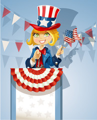 Girl in suit of Uncle Sam stands on podium