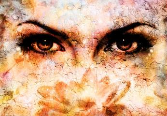 women eyes beaming  up enchanting from behind a bloming rosa