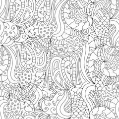 isolated black and white decor element style zentangle