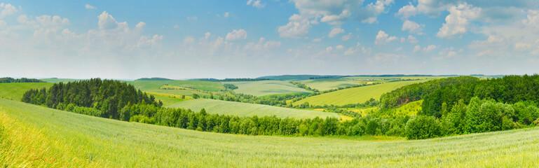 Aluminium Prints Blue Panorama of rural landscape