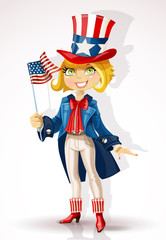 Girl in a suit of Uncle Sam