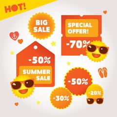 Big summer sale labels set. Hot deal collection