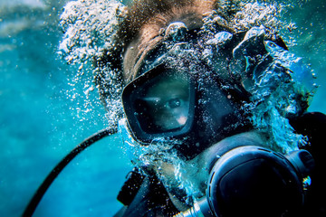 Poster Diving diver selfy