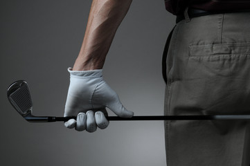 Closeup of Golfer with Club