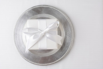 White Gift Silver Plate