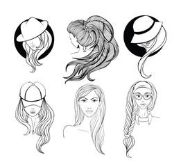 Set of line art portraits