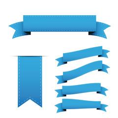 Blue ribbon vector set