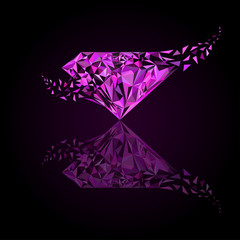 Gemstones around the world merge to be one Marvellous Diamond, pink sapphire logo, diamond logo, background for jewelry or gems company