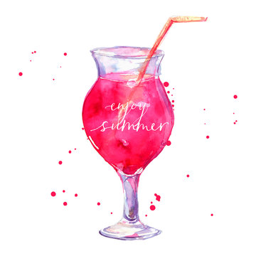 Pink cocktail with text enjoy summer. Vector watercolor