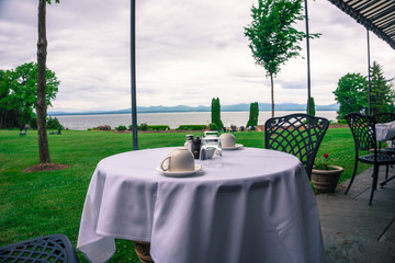 ready for breakfast at the lovely Inn at Shelburne Farms with the beautiful view of the lake