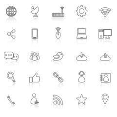 Network line icons with reflect on white