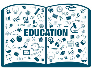 Silhouette flat infographic of education maths science text book vector