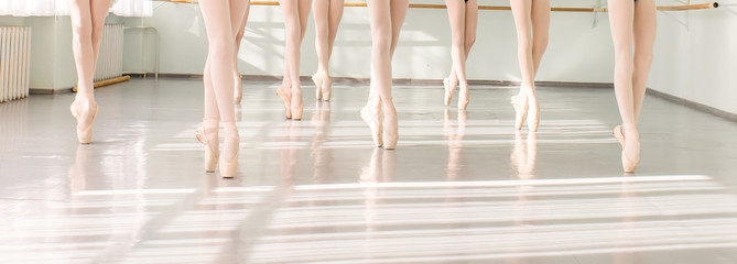 Printed kitchen splashbacks Dance School legs of dancers ballerinas in class classical dance, ballet