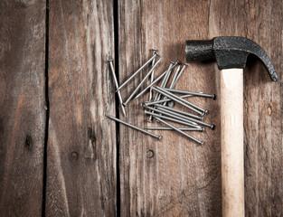 hammer on a wood board