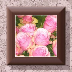 Rose painting in wooden frame hanging on a wall
