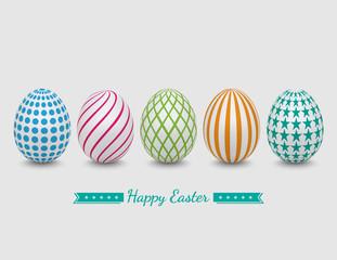 Easter eggs on white background,vector