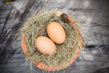 eggs in hay and pottery