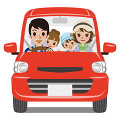 Family Car Driving - Front view